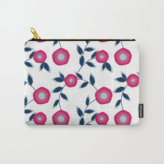 Red flowers on a white background. Carry-All Pouch