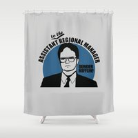 dwight Shower Curtains featuring Dwight Schrute logo v2 by Buby87