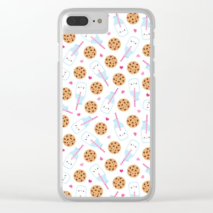 Happy Milk and Cookies Pattern Clear iPhone Case