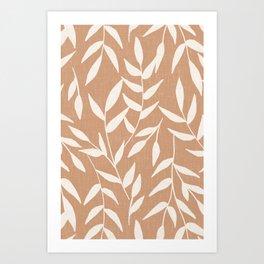 Foliage on Taupe Art Print