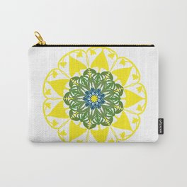 Yellow Green and Blue Mandala Flower Carry-All Pouch