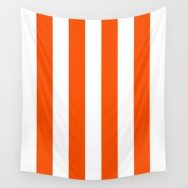 Vertical Stripes - White and Dark Orange Wall Tapestry