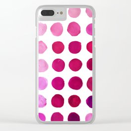 Pink Pink Polka Pink Clear iPhone Case