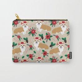 Welsh Corgi poinsettia christmas hat santa little corgi elf pet friendly dog breed gifts Carry-All Pouch