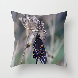 Butterfly emerging from cocoon Throw Pillow