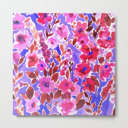 Isla Floral Purple Metal Print