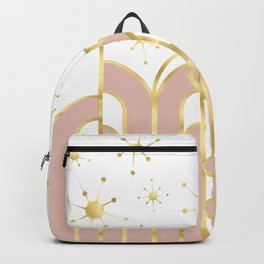 Art Deco Geometric Architectural Shapes and Stars in Blush Pink and Yellow Gold Backpack