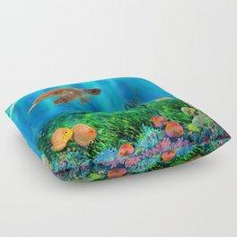 UnderSea with Turtle Floor Pillow