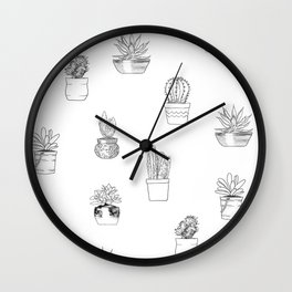 Potted Cactus Pattern Black and White Wall Clock