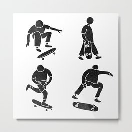 Skateboarding Shapes Metal Print