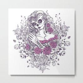 Sexy Woman zombie WITH Flower - KOBI Metal Print