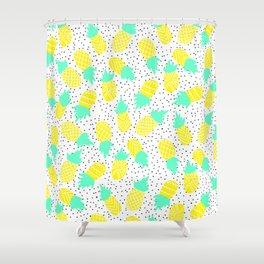 Modern tropical mint yellow pineapples black polka dots pattern illustration Shower Curtain