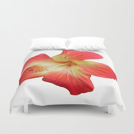 Gorgeous Red And Gold Hawaiian Hibiscus Flower No Text Duvet Cover