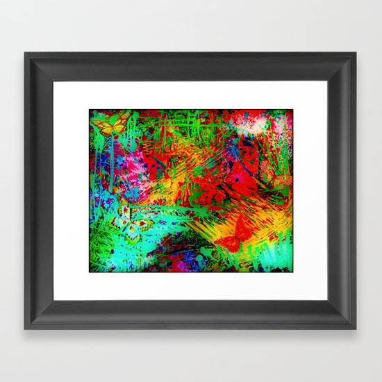 BUTTERFLY FEVER - Bold Rainbow Butterflies Fairy Garden Magical Bright Abstract Acrylic Painting Framed Art Print