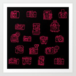 Camera: Pink - pop art illustration Art Print