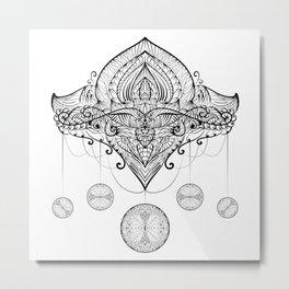 Hand Drawing Zentangle Element Metal Print