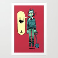 cartoons Art Prints featuring like in cartoons by musa