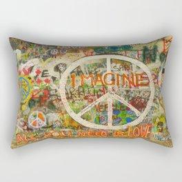 Peace Sign - Love - Graffiti Rectangular Pillow