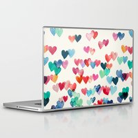happiness Laptop & iPad Skins featuring Heart Connections - watercolor painting by micklyn