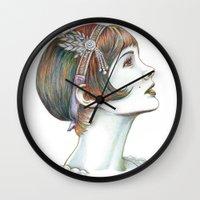 gatsby Wall Clocks featuring Carey Gatsby by ShayMacMorran