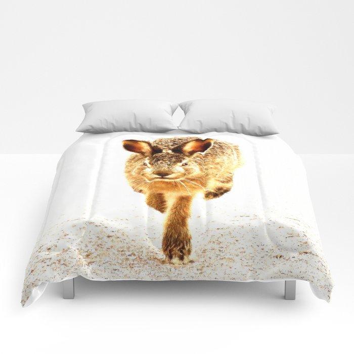 Wait For Me Guys! Hare running #decor #society6 Comforters