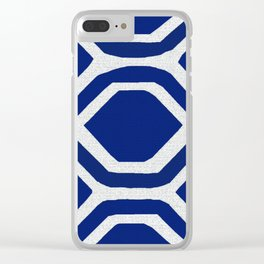 Blue and White and Bold Clear iPhone Case