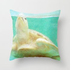Portrait of a Sea Turtle Throw Pillow