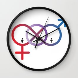 A sign for the toilet, both male and female as Gender Wall Clock