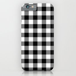 Jumbo Milkweed White and Black Rustic Cowboy Cabin Buffalo Check iPhone Case