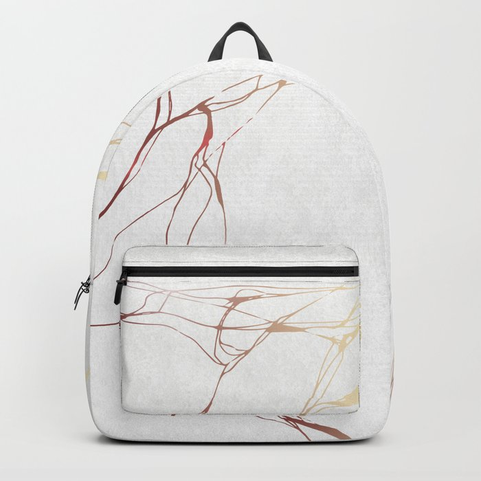 Rose Gold White Marble Pattern Backpack