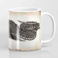 pen Mugs featuring Pen Dragon by Steve W Schwartz Art