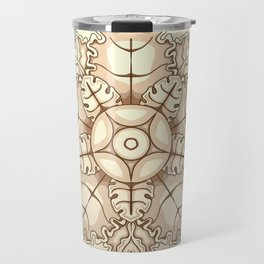 Beige elegant ornament fretwork Baroque style Travel Mug