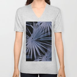 Blue on Black Tropical Vibes Beach Palmtree Vector Unisex V-Neck