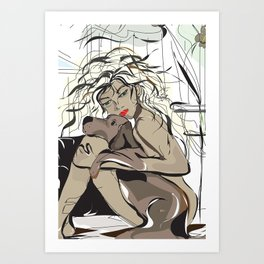 """My Beau"" Paulette Lust's Original, Contemporary, Whimsical, Colorful Art  Art Print"