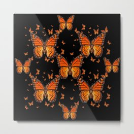 ORANGE MONARCH BUTTERFLIES BLACK MONTAGE Metal Print