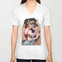 mucha V-neck T-shirts featuring Mucha Inspired Art Nouveau cow skull watercolor by Carla Wyzgala by carlations: Carla Wyzgala illustrations