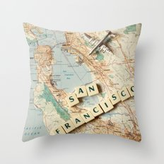 Let's Fly to San Francisco Throw Pillow