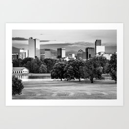 Denver Monochrome Skyline - Black and White Art Print