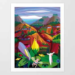 Mill Valley to Zen Gulch Art Print