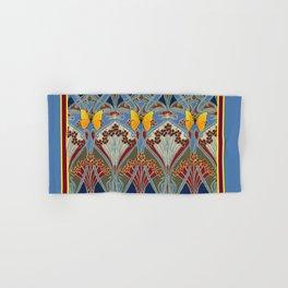 Grey-Burgundy Color & Yellow Art Nouveau Butterfly Design Hand & Bath Towel