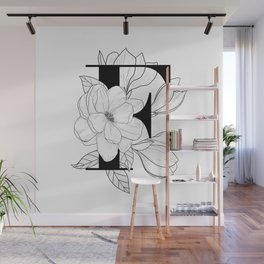 Monogram Letter F with Magnolia Line Art Wall Mural