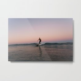 Sunset Longboarding  Metal Print