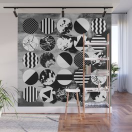 Eclectic Circles - Black and white, abstract, geometric, textured designs Wall Mural
