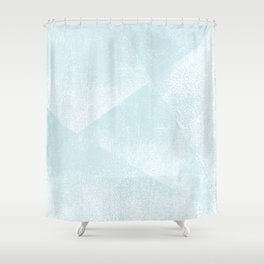 Light Blue and White Geometric Triangles Lino-Textured Print Shower Curtain