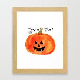 Trick or Treat Jack-O-Lantern, Halloween Pumpkin Framed Art Print