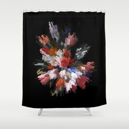 Abstract 3D pixel flowers Shower Curtain