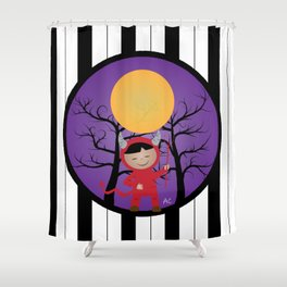 Kid in devil costume Shower Curtain