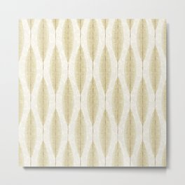 Abstract Leaves Japandi Pattern Yellow Metal Print