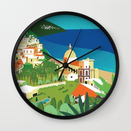 Amalfi Italy vintage travel poster city Wall Clock