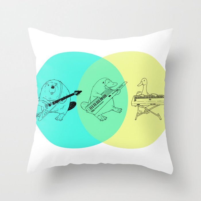 Keytar Platypus Venn Diagram Throw Pillow